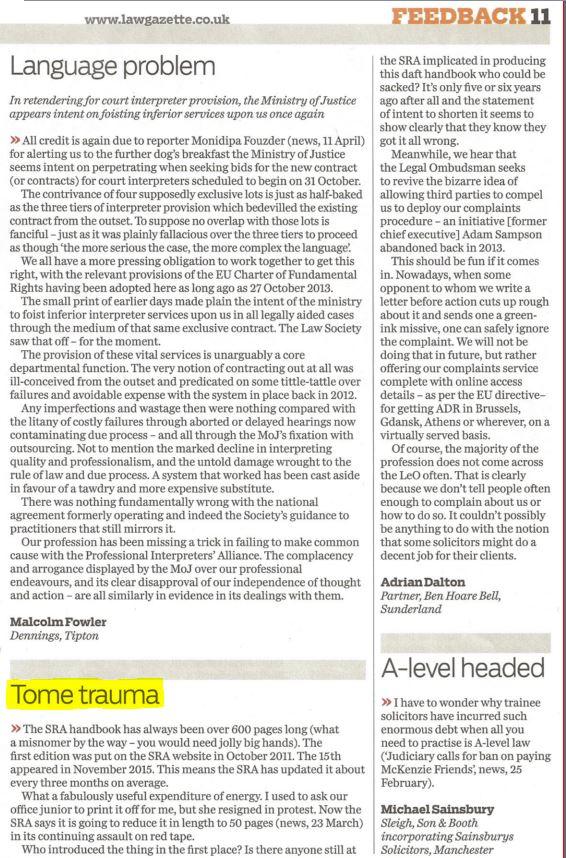 Adrian Letter in Gazette