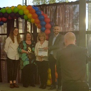 Cris and Lui Presenting the 'Building a Stronger LGBT+ Community' Award to Northern Proud Voices