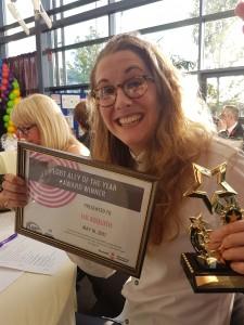 Lui with the 'LGBT Ally Award' 2017