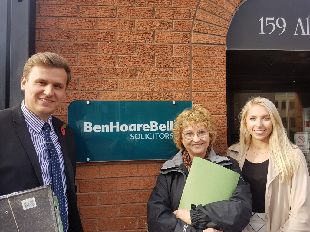 Gavin Cochrane, Cris McCurley and Jasmine Crammond outside the new Ben Hoare Bell LLP office in Middlesbrough