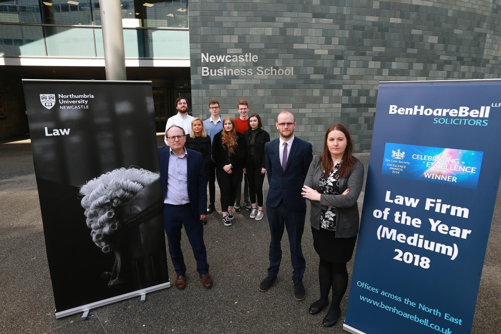 Jonny Hall, Students from the Student Law Office with Andrew Freckleton and Rachel Floyd of Ben Hoare Bell LLP. Photo courtesy of Newcastle Chronicle