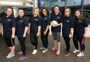 Some of the Ben Hoare Bell Netball Team preparing for the Newcastle Law Society Netball Tournament in February 2017
