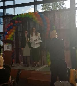 Lui Asquith Receiving the 'LGBT Ally Award' at the North East LGBT Awards 2017
